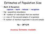 estimates of population size50