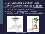 characterize bank elevations using lidar light detection and ranging