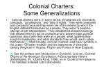 colonial charters some generalizations
