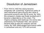 dissolution of jamestown