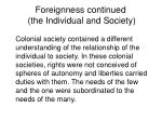 foreignness continued the individual and society