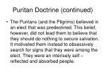puritan doctrine continued