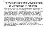 the puritans and the development of democracy in america