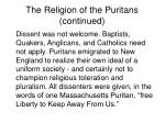 the religion of the puritans continued