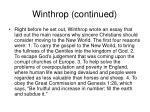 winthrop continued