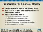 preparation for financial review