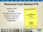resources from national pta