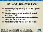 tips for a successful event