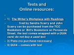 texts and online resources