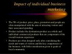 impact of individual business marketing