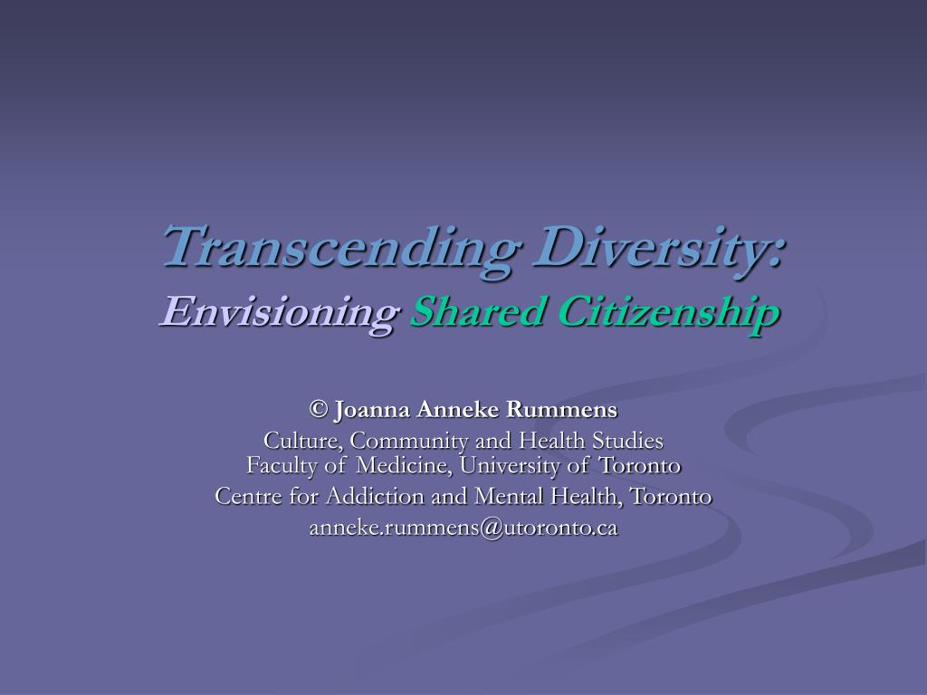 transcending diversity envisioning shared citizenship l.