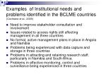 examples of institutional needs and problems identified in the bclme countries cochrane et al 2009