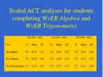 scaled act analyses for students completing wveb algebra and wveb trigonometry