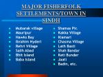 major fisherfolk settlements town in sindh