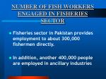 number of fish workers engaged in fisheries sector