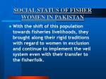 social status of fisher women in pakistan23