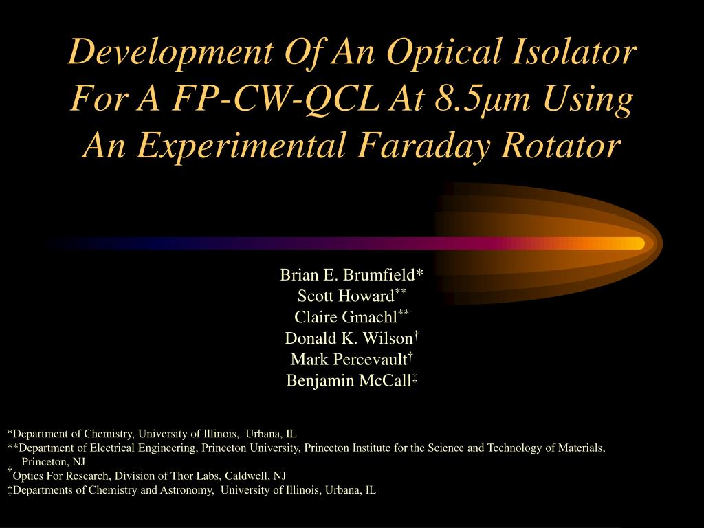 development of an optical isolator for a fp cw qcl at 8 5 m using an experimental faraday rotator l.