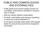 public and common goods and externalities