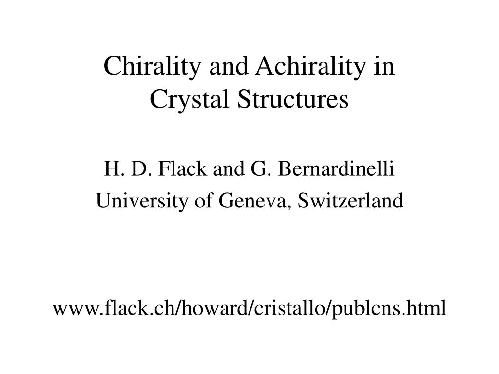chirality and achirality in crystal structures l.