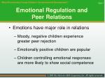emotional regulation and peer relations