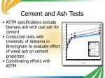 cement and ash tests
