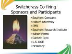 switchgrass co firing sponsors and participants