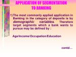 application of segmentation to banking