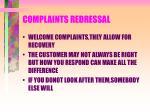 complaints redressal