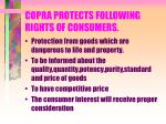 copra protects following rights of consumers