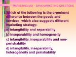 marketing mix bank marketing questions