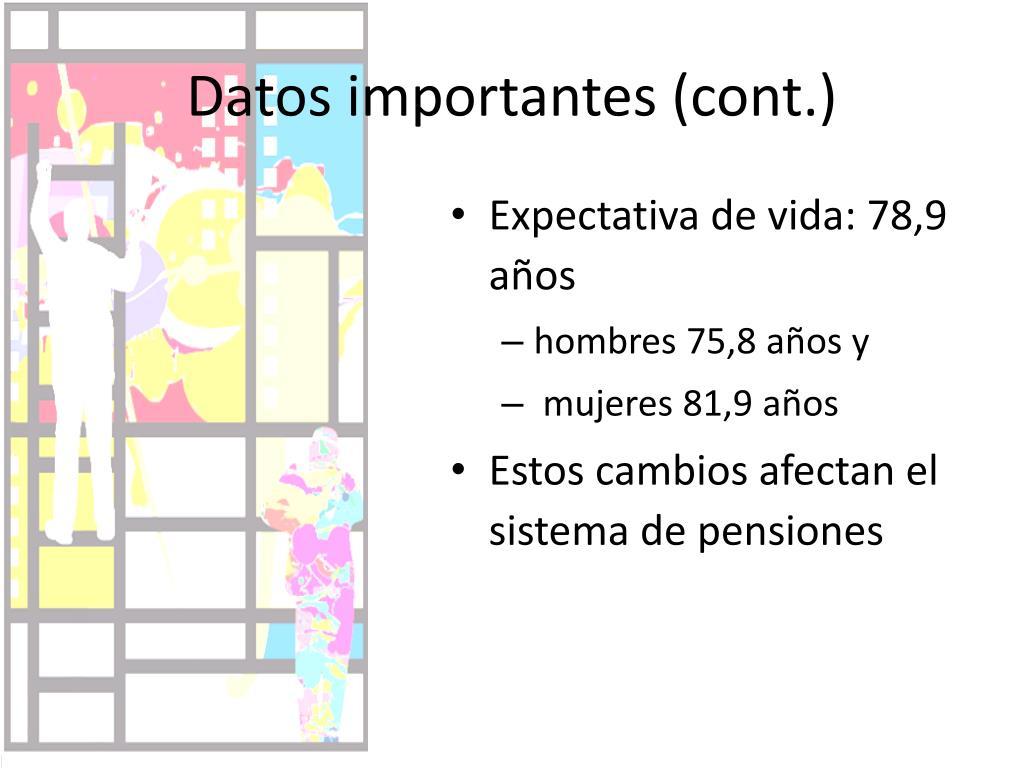 Datos importantes (cont.)