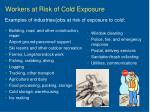 workers at risk of cold exposure