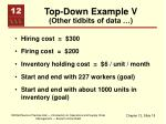 top down example v other tidbits of data
