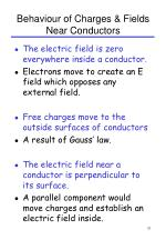 behaviour of charges fields near conductors
