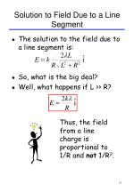 solution to field due to a line segment