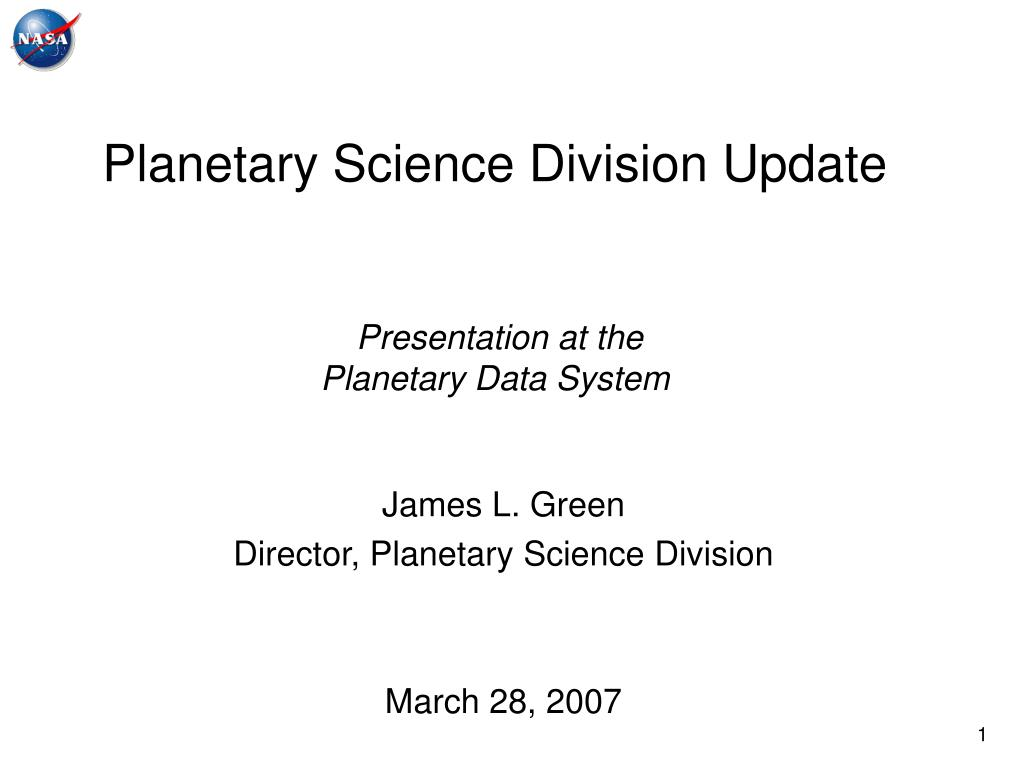 planetary science division update presentation at the planetary data system l.