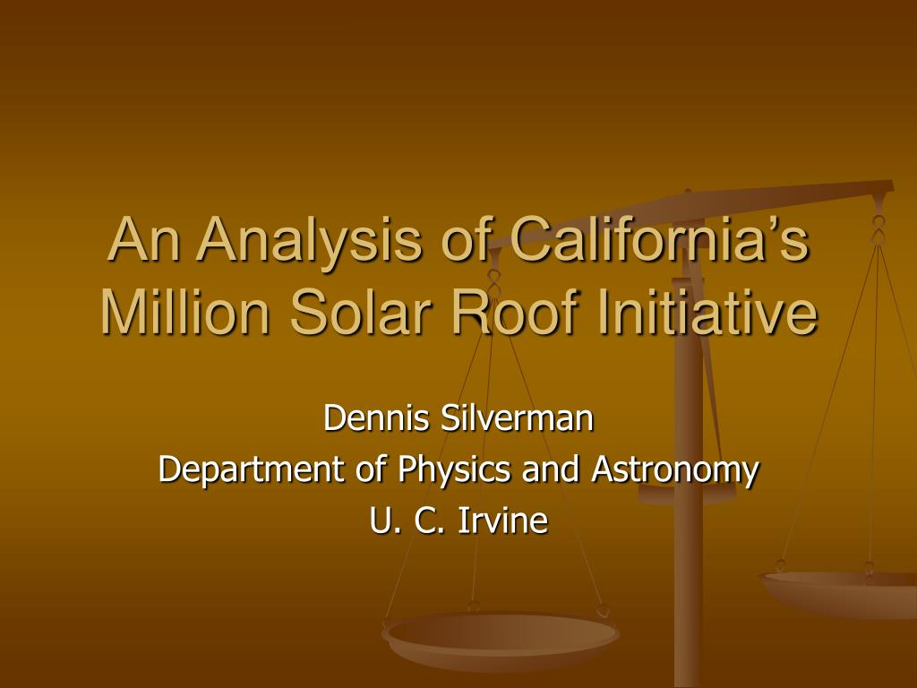 an analysis of california s million solar roof initiative l.