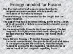 energy needed for fusion