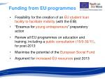 funding from eu programmes