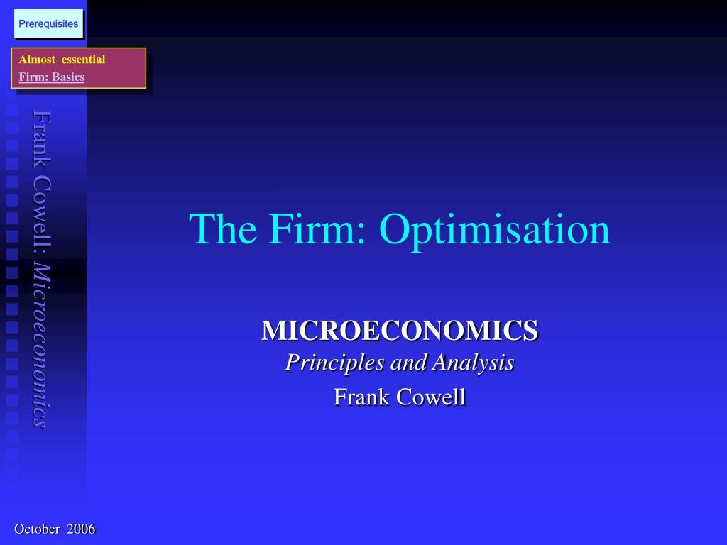 the firm optimisation l.