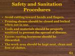 safety and sanitation procedures61
