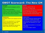 swot scorecard the new gm