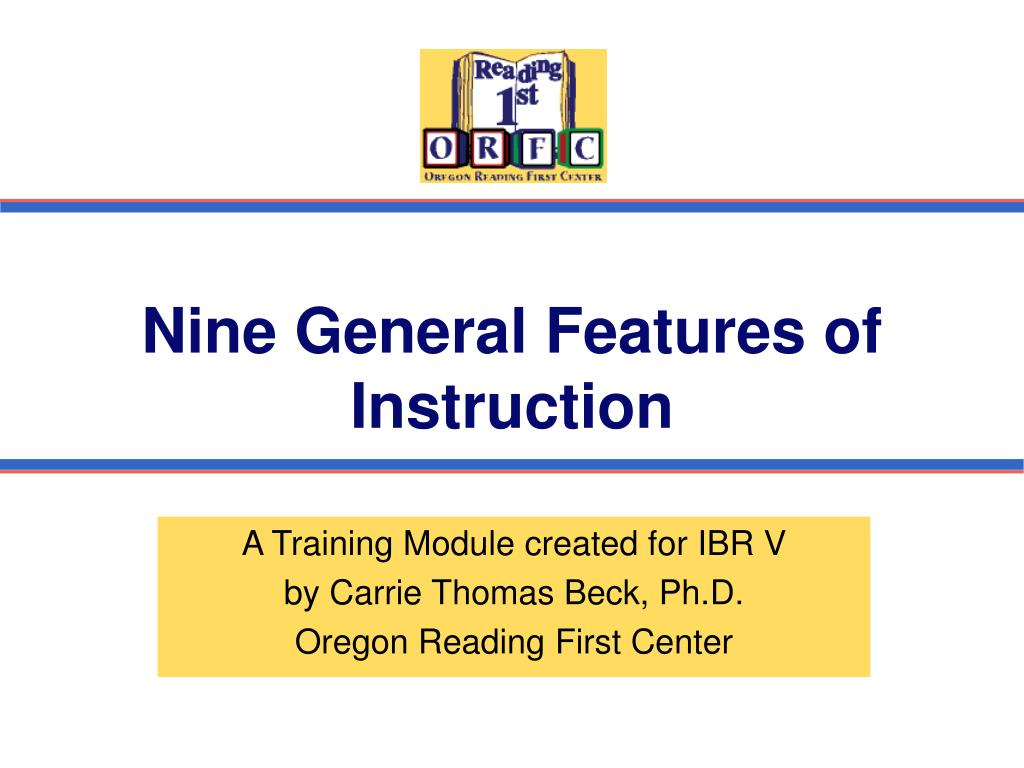 nine general features of instruction l.