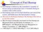 concept of fuel burnup