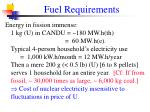 fuel requirements