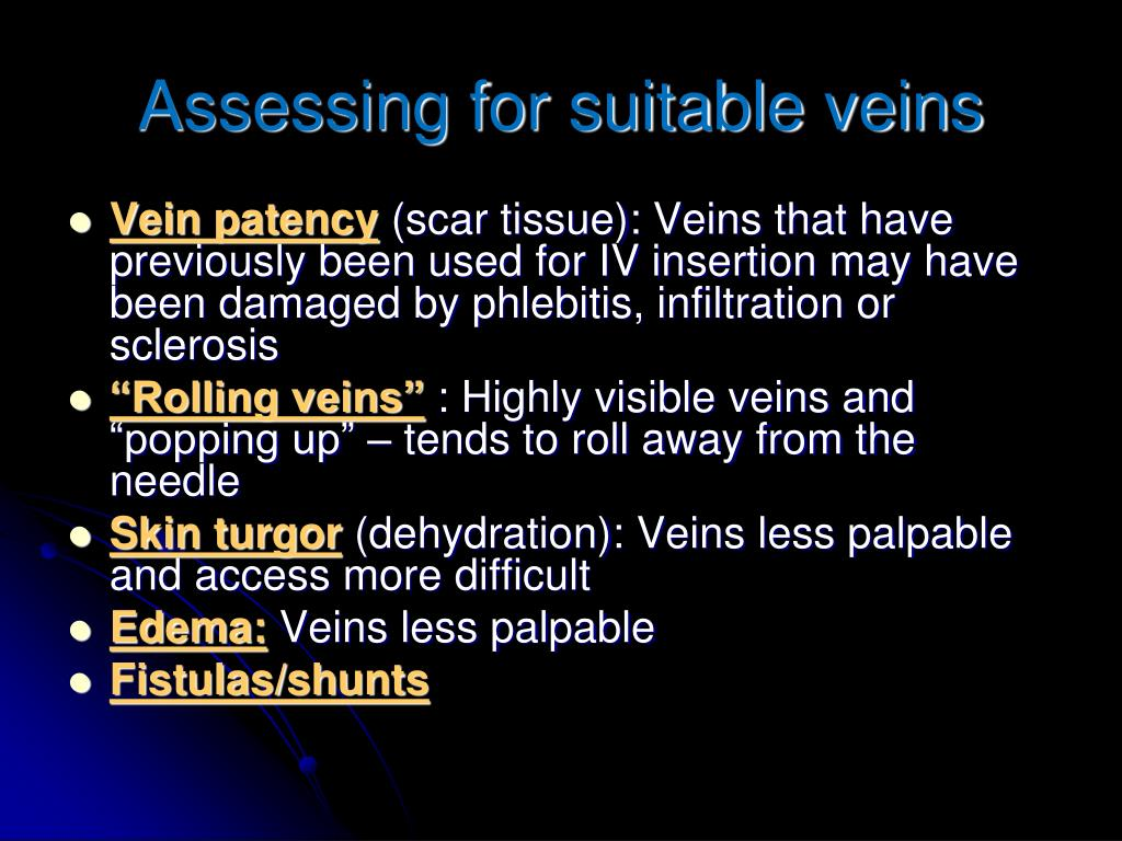 Assessing for suitable veins
