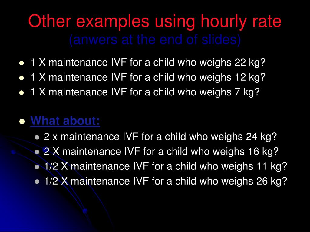Other examples using hourly rate