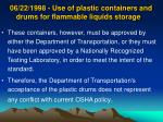 06 22 1998 use of plastic containers and drums for flammable liquids storage17