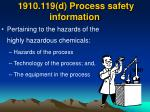 1910 119 d process safety information