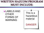 written hazcom program must include